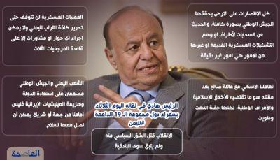مقتطفات من حديث الرئيس هادي أمام سفراء الدول ال 19 الداعمة لليمن