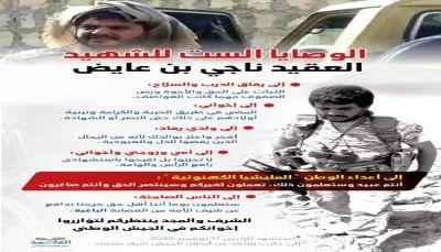 الوصايا الست للشهيد العميد ناجي بن عايض مساعد قائد المنطقة العسكرية السابعة لرفاق دربه