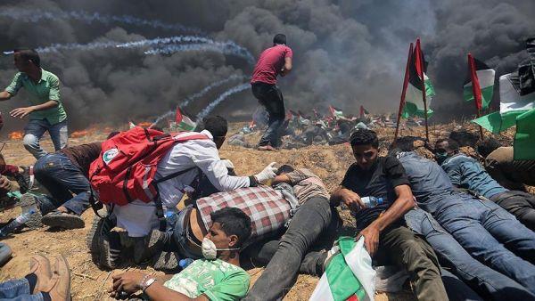 62 شهيداً و3188 مصاباً حصيلة المجزرة الإسرائيلية في غزة