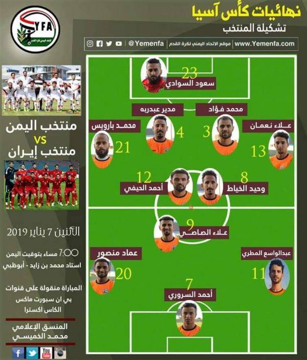 """المنتخب اليمني يستعد لأول مواجهة مع ايران ضمن """"كأس آسيا"""""""