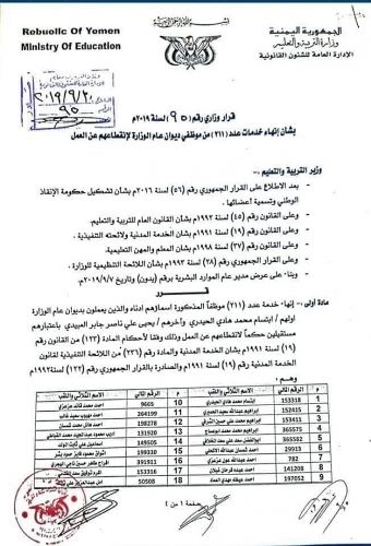 ضمن تجريفها للتعليم.. مليشيا الحوثي تستبدل 211 موظفاً في وزارة التربية من أنصارها