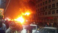 """نشوب حريق هائل في مخزن للنفط تابع للحوثيين وسط  """"صنعاء"""""""
