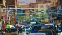"""احتفالات الحوثي تشل الحركة في صنعاء وتجبر المحلات التجارية على الإغلاق """"صور"""""""